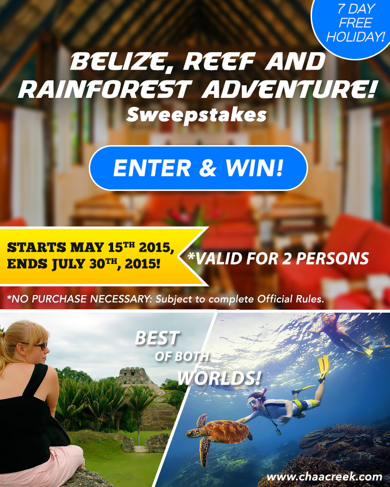 Win a 7 Day FREE Holiday with Chaa Creek Belize Sweepstakes