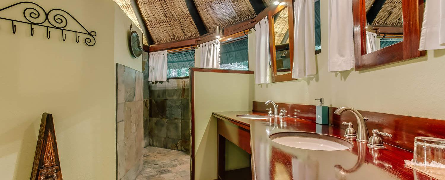 belize garden suite bathroom at chaa creek resort