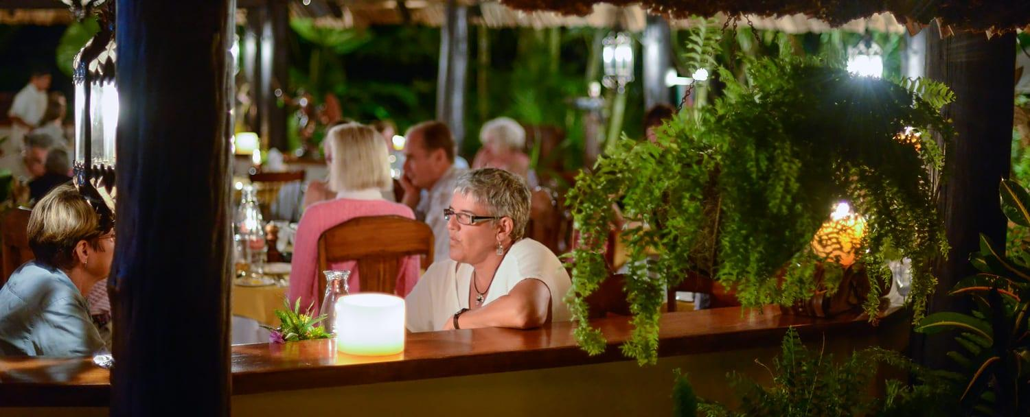exterior shot of open air dining in belize at chaa creek