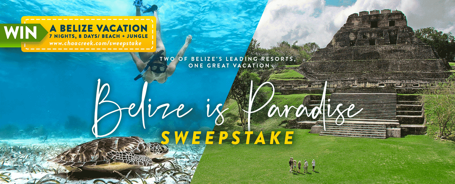 belize is paradise sweepstake banner