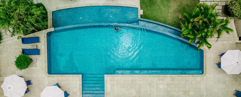 chaa creek belize resort infinity swimming pool aerial photo