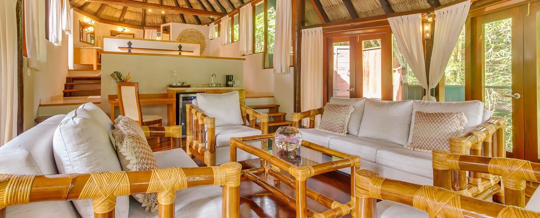 Belize treetop villas at Chaa Creek living room shot
