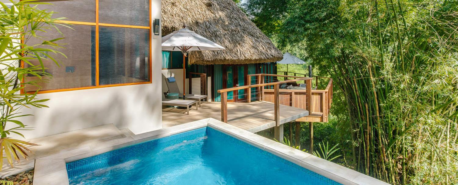 Belize treetop villas at Chaa Creek outdoor shower and plunge pool