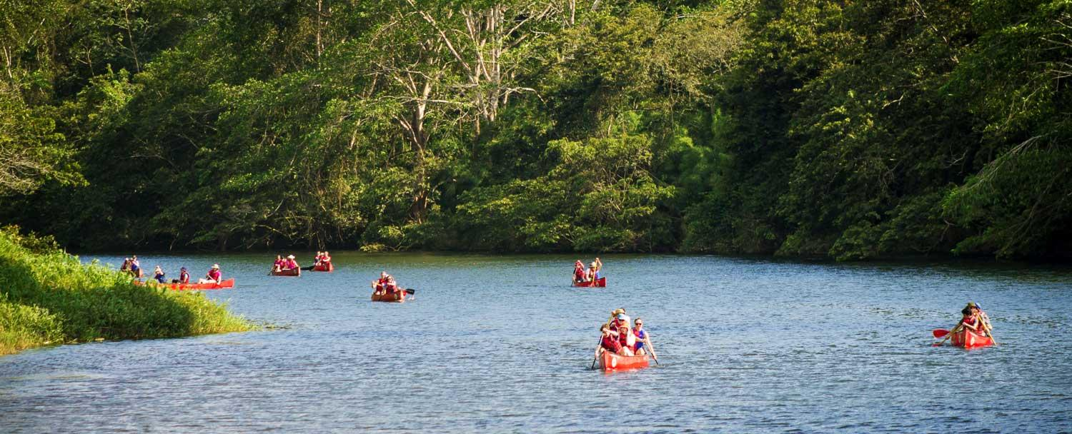 Belize Canoeing Tours with a group at Chaa Creek Resort