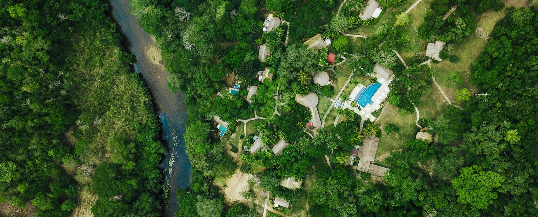 Aerial photo of Chaa Creek