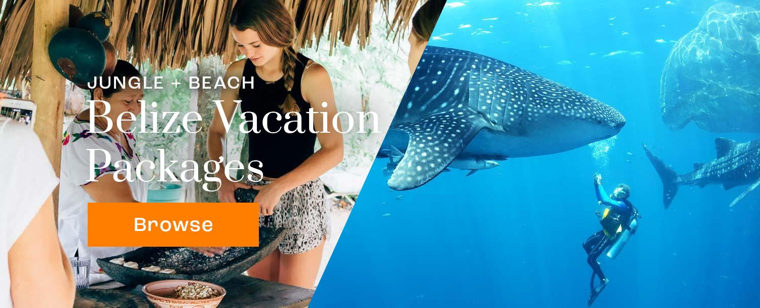 Belize Vacation Packages Banner with young girl doing cultural activities and whale shark diving in photos