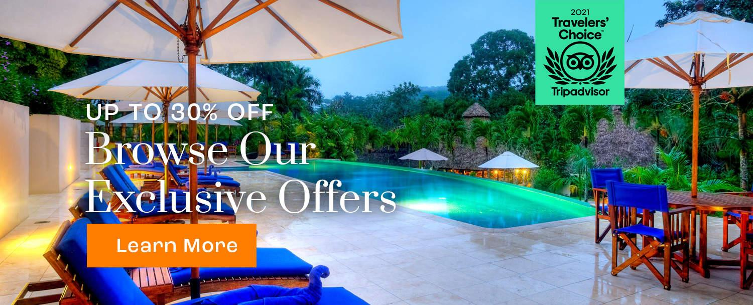 Chaa Creek Belize Resort Exclusive Offers Banner with swimming pool view
