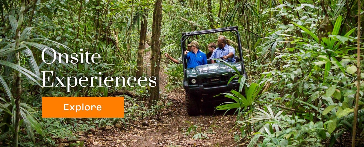 chaa creek onsite experiences cta with rtv rainforest safari tour in background