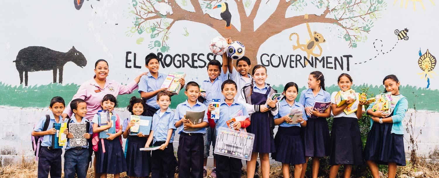 Chaa Creek delivering Pack a Pound school supplies to Progreso Government School