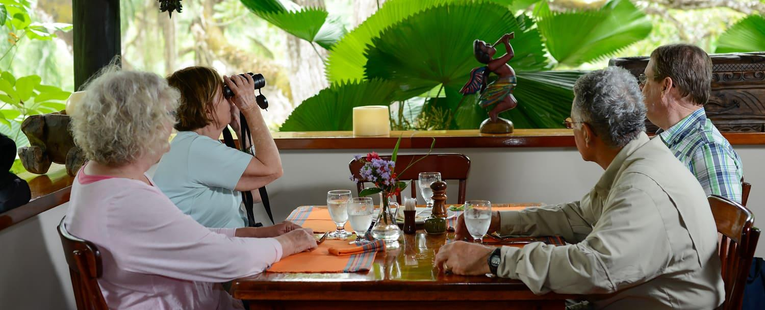 dining in open air restaurant in belize with birdwatching