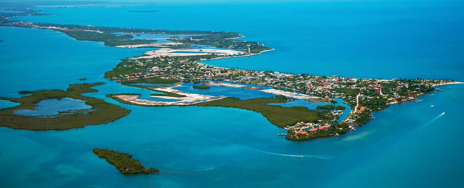 Aerial view of Placencia Belize Peninsula