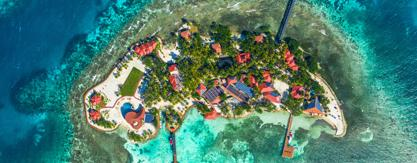 Aerial photo of Ray Caye Private Island Resort